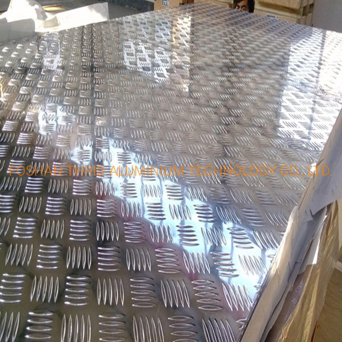 China Diamond / 5 Bar Embossed Aluminum Tread Sheets 3003 H14 Factory